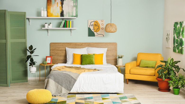 yellow and green modern bedroom