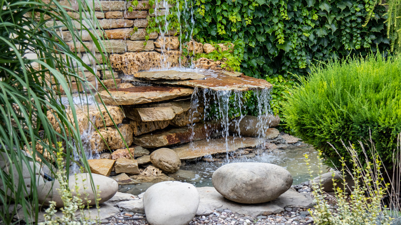 Rock garden with waterfall