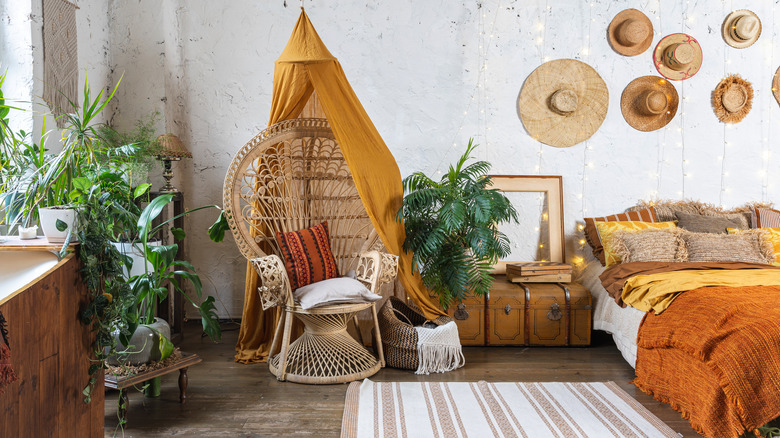 Bohemian bedroom with plants