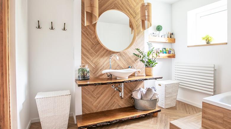 Bathroom with live edge wood