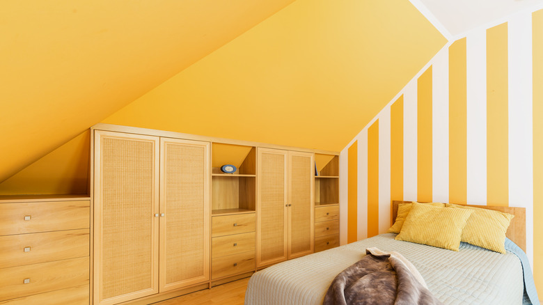 Attic bedroom with stripes