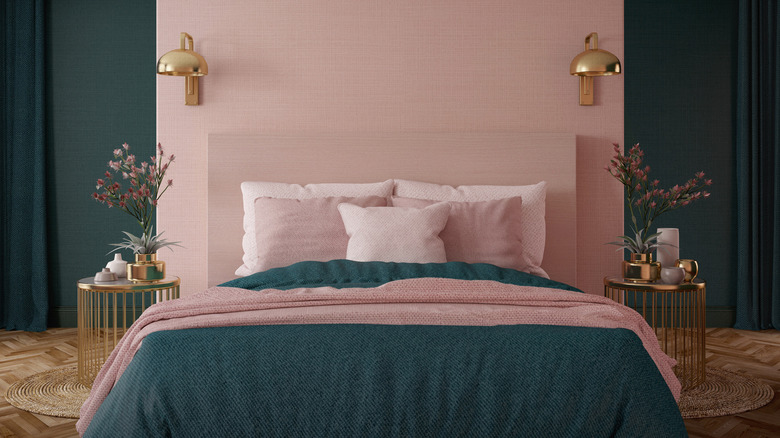 pink and green bedroom