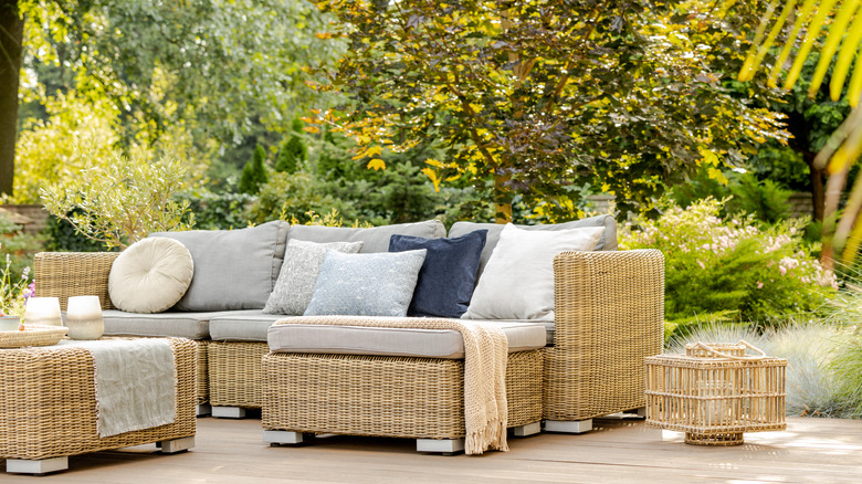 wicker furniture on a patio