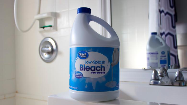 Bottle of bleach on bathroom counter