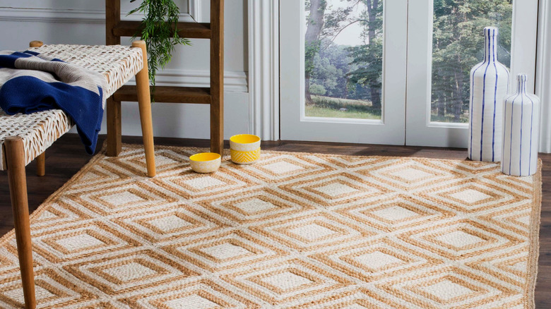 Room with jute area rug