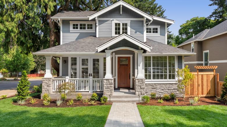 Gray house white trim
