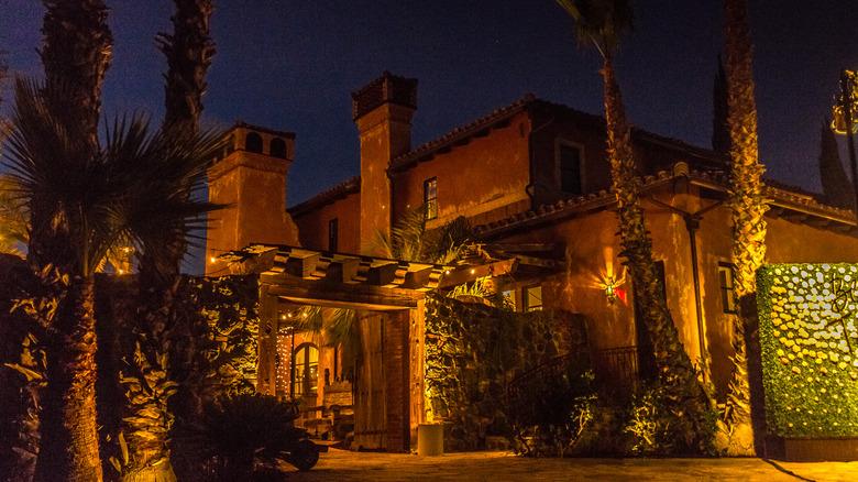 The Bachelor Mansion at dusk