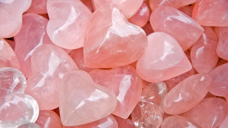 Heart-shaped rose quartz crystals