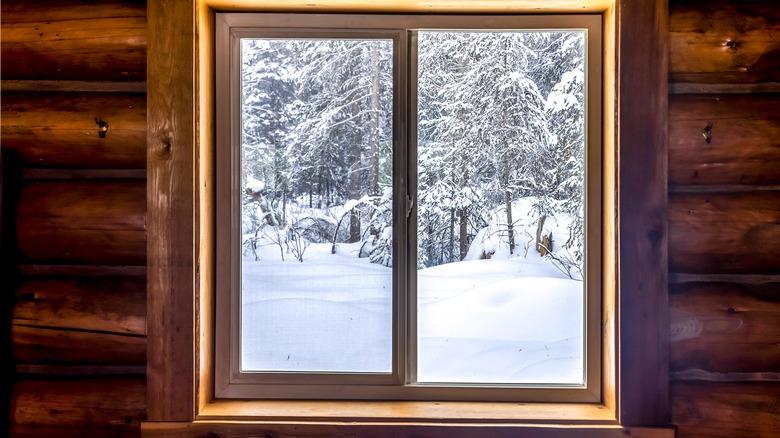 log cabin window