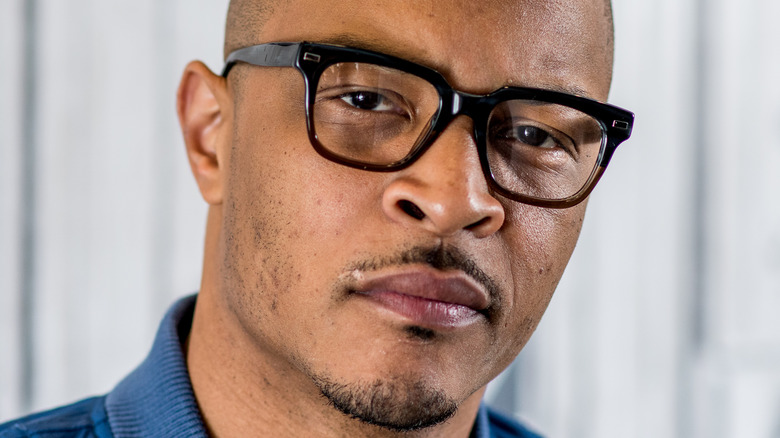 T.I. with a serious expression
