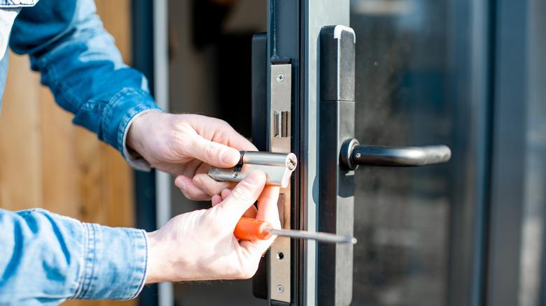 Installing a lock on the door
