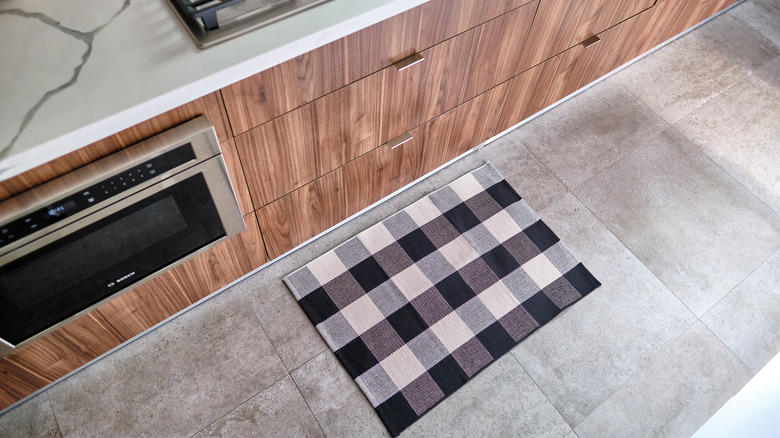 A kitchen floor from above