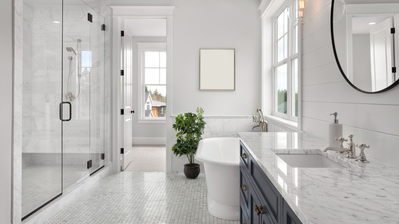 modern bathroom with plants