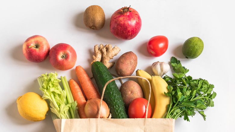 grocery bag of vegetables