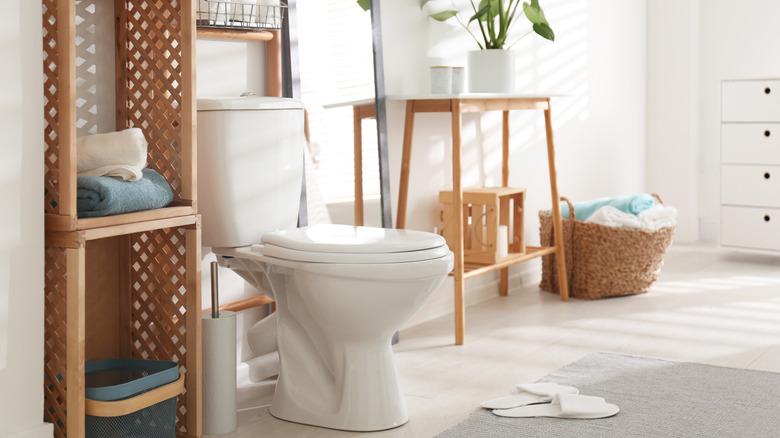 Stylish bathroom with toilet