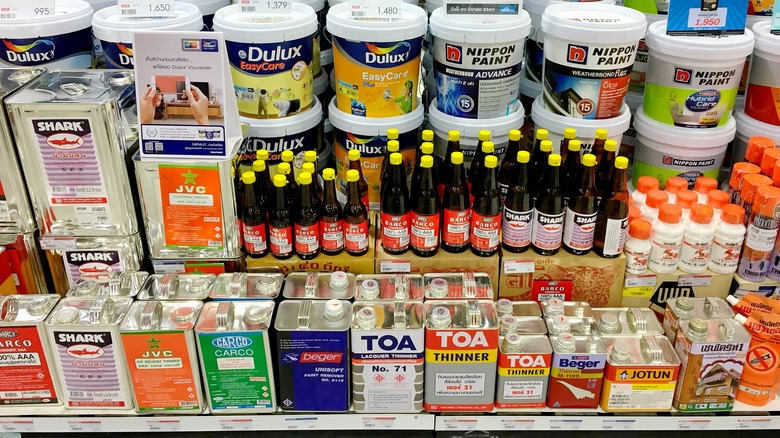 paint products on shelf