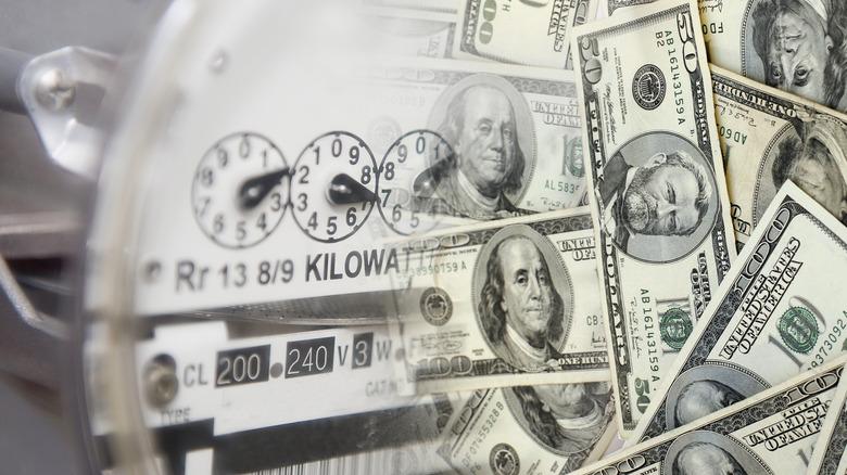 dollar bills with energy meter