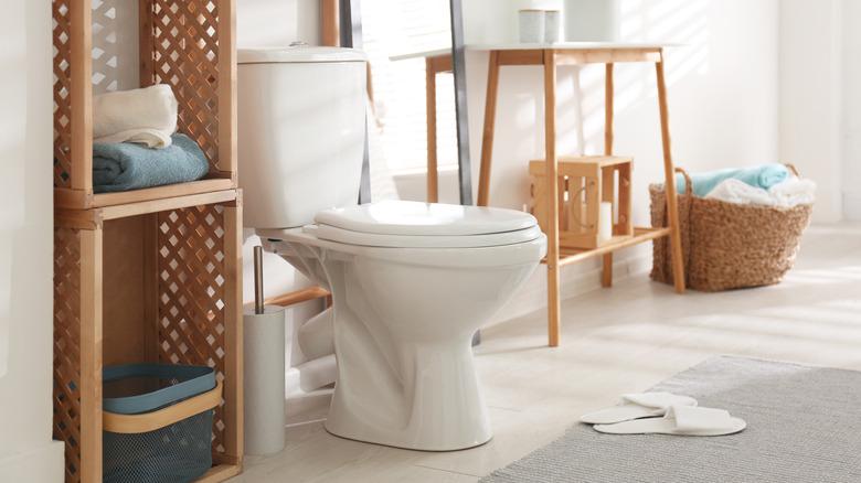 white toilet in white bathroom