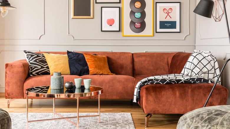 Velvet sectional couch