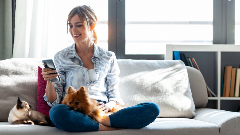 Woman on couch with cat and dog