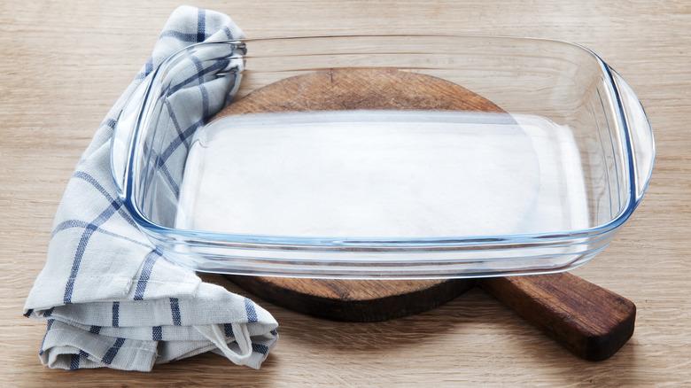empty glass casserole dish