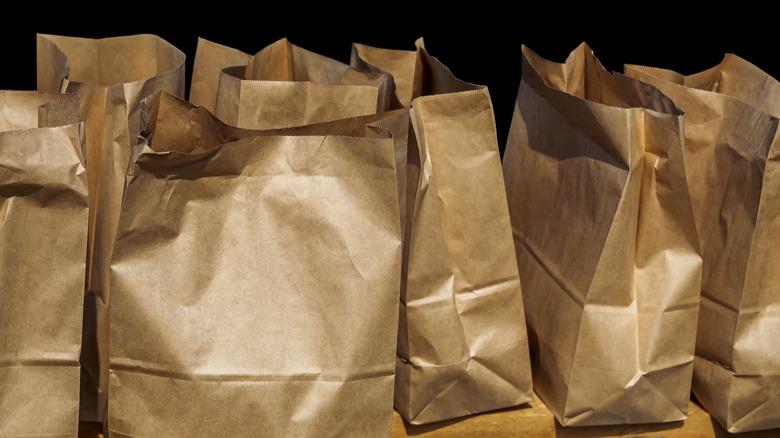 group of paper sacks