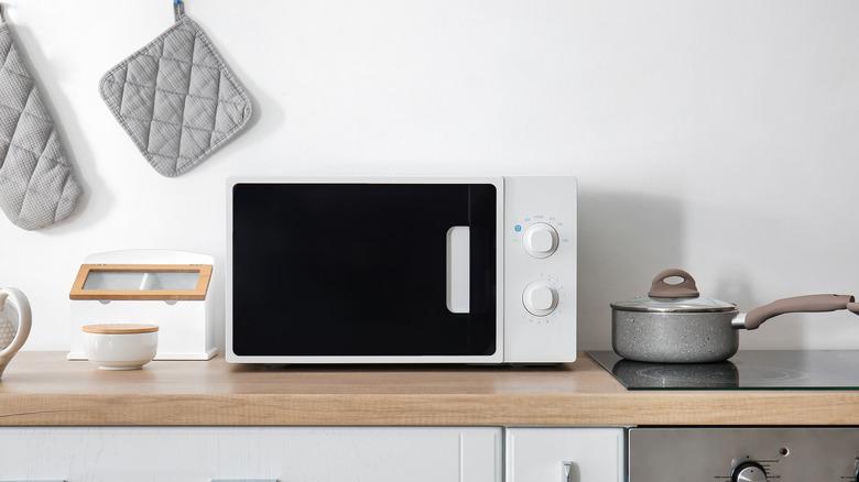 A microwave on a table