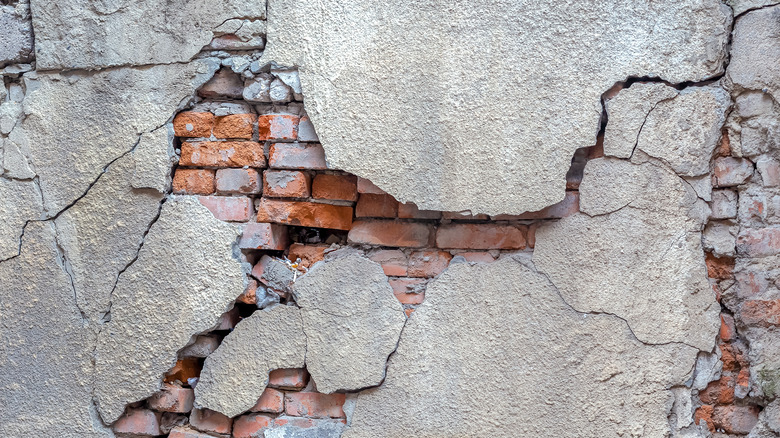 A crumbling brick wall