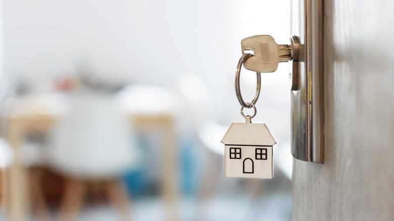 House keychain in door lock