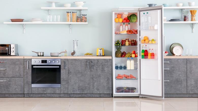 open fridge with food