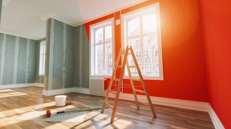 A room with red paint