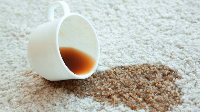 coffee spill white carpet