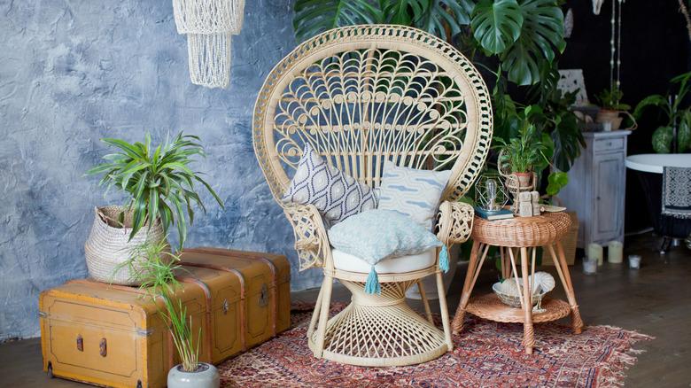 boho aesthetic peacock chair