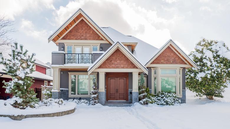 winter house snow