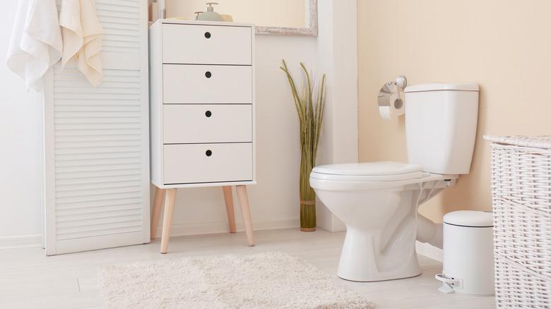 white toilet in minimalist bathroom