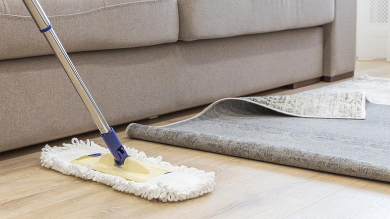 mopping hardwood flooring