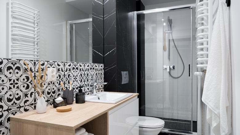 Black and white shower bathroom